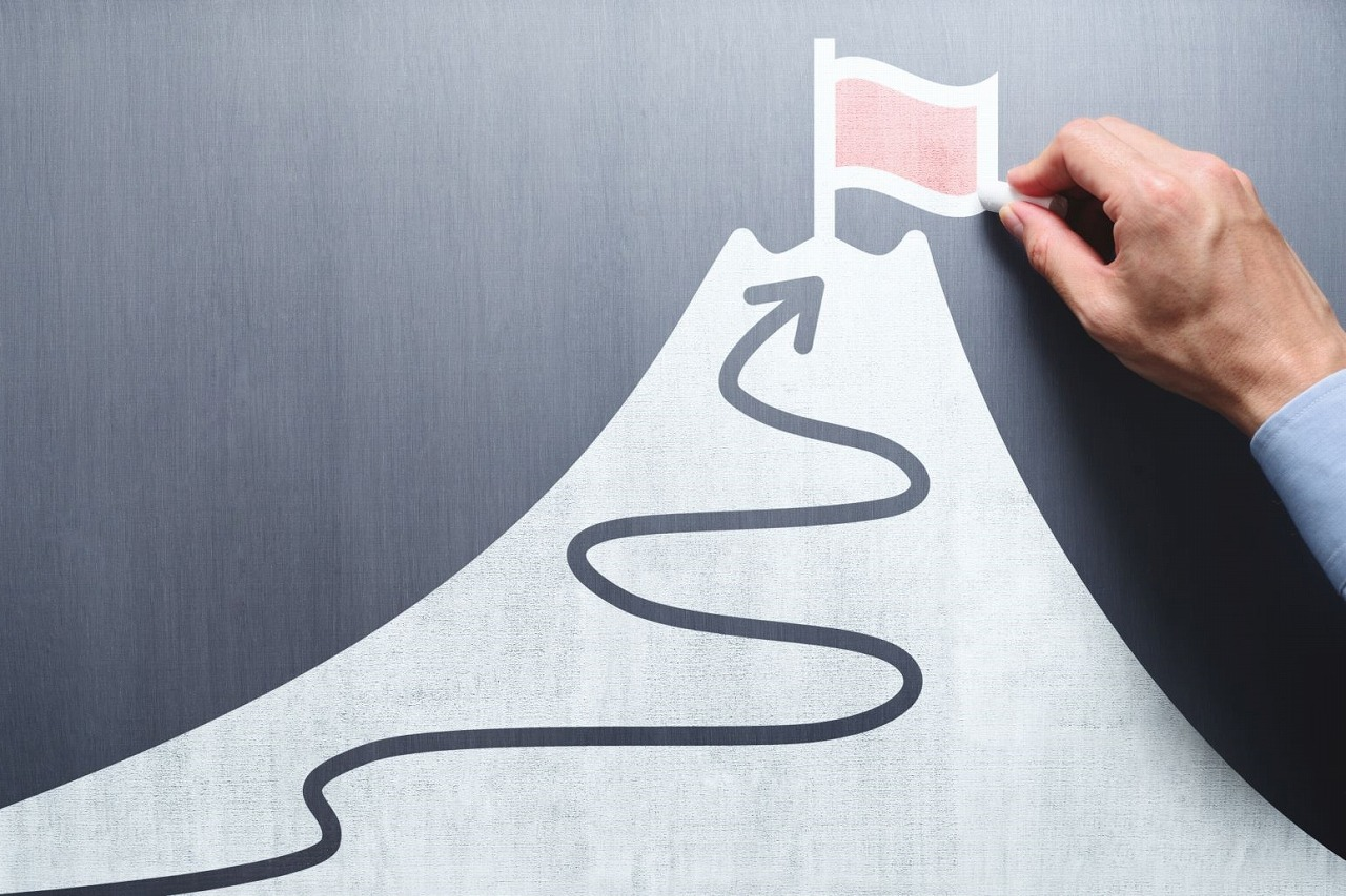 山の頂上まで登る道筋を決める